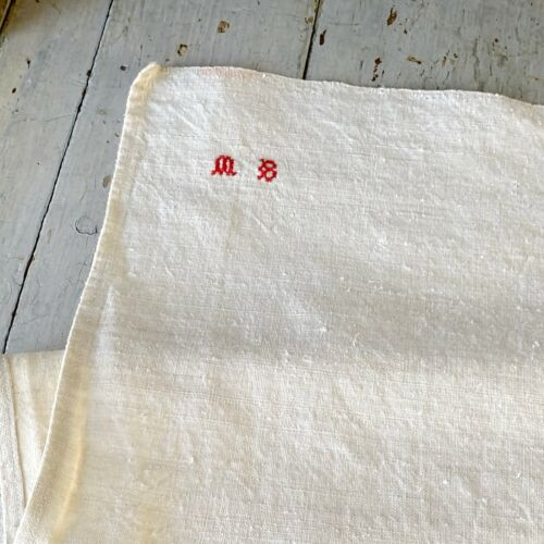Antique French linen dishtowel twill towel hand towel late 1700s Textile Trunk