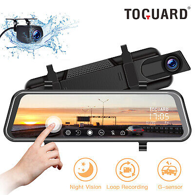 "Mirror DashCam TOGUARD 10"" Touch Screen Front Rear Video Car Camera Night Vision"