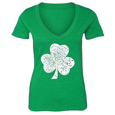 - St Patrick Day shirt Shamrock Clover Irish Women V-neck T-Shirt Tee Green 12