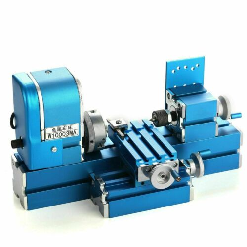 Mini Motorized Lathe Machine DIY Tool Metal Woodworking Hobby Modelmaking Kits