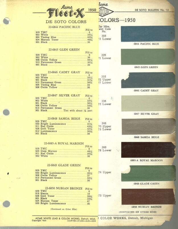 1950 DeSOTO Color Chip Paint Sample Brochure / Chart: ACME, De Soto