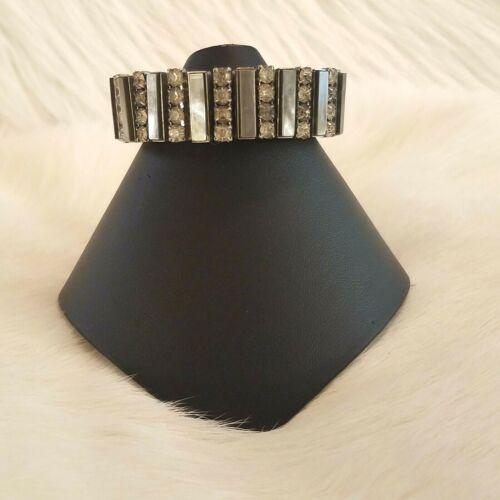 Vintage Abalone Rhinestone Bracelet Silver Tone Expandable Prong Set Inlay 5122