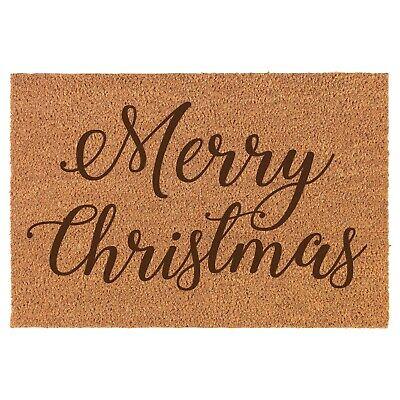 Coir Door Mat Entry Doormat Merry Christmas Script ()