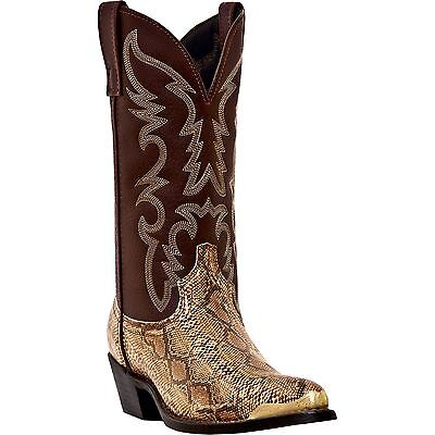 Men's Brown Faux Leather & Snake Skin Cowboy Boots Cheap New Western Boots J Toe - Cheap Mens Cowboy Boots