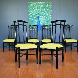 1970s/80s Black Lacquer Chinoiserie Pagoda Dining Chairs :: Set 6