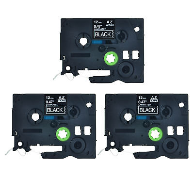 3pk Tz335 Tze335 White On Black Label Tape 12 For Brother P-touch Pt-d200ma