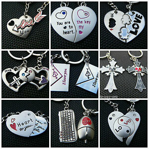 LOVERS-SET-OF-2-KEYRINGS-GIFT-BOXED-I-LOVE-YOU-FOREVER-JIGSAW-HEART-KEY-CUPID