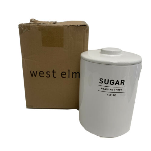 West Elm Utility Canister Sugar White FREE Domestic Shipping