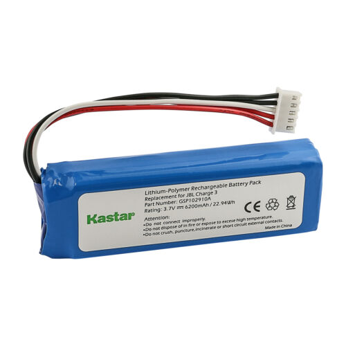 Kastar Replacement Battery 3.7V 6200mAh GSP1029102A for JBL Charge 3 2016 Versio