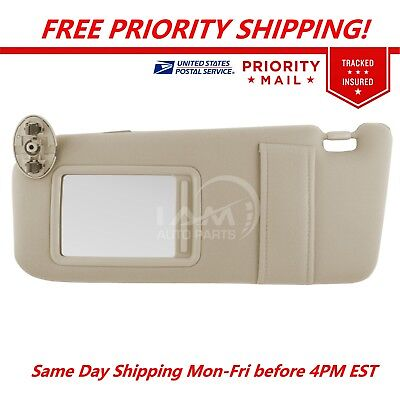 NEW Sun Visor LEFT Driver Tan Beige for 2007 2011 Toyota Camry WO vanity light