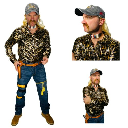 Joe Exotic Costume Shirt Blonde Mullet Earrings Necklace Hat Tiger Gun Accessory