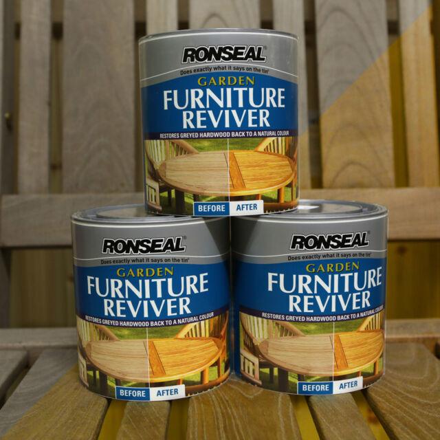 Qty 3 Ronseal Garden Furniture Reviver 1 Litre Restore wood Natural Colour