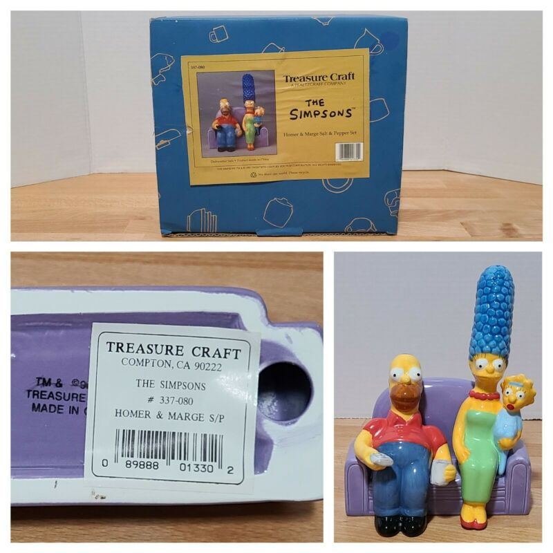 New! The Simpsons Homer & Marge on Sofa Treasure Craft Salt & Pepper Shaker Set