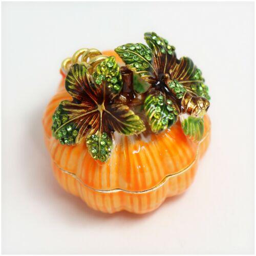 Bejeweled Enameled Veggie Plants Trinket Box/Figurine With Rhinestones-Pumpkin