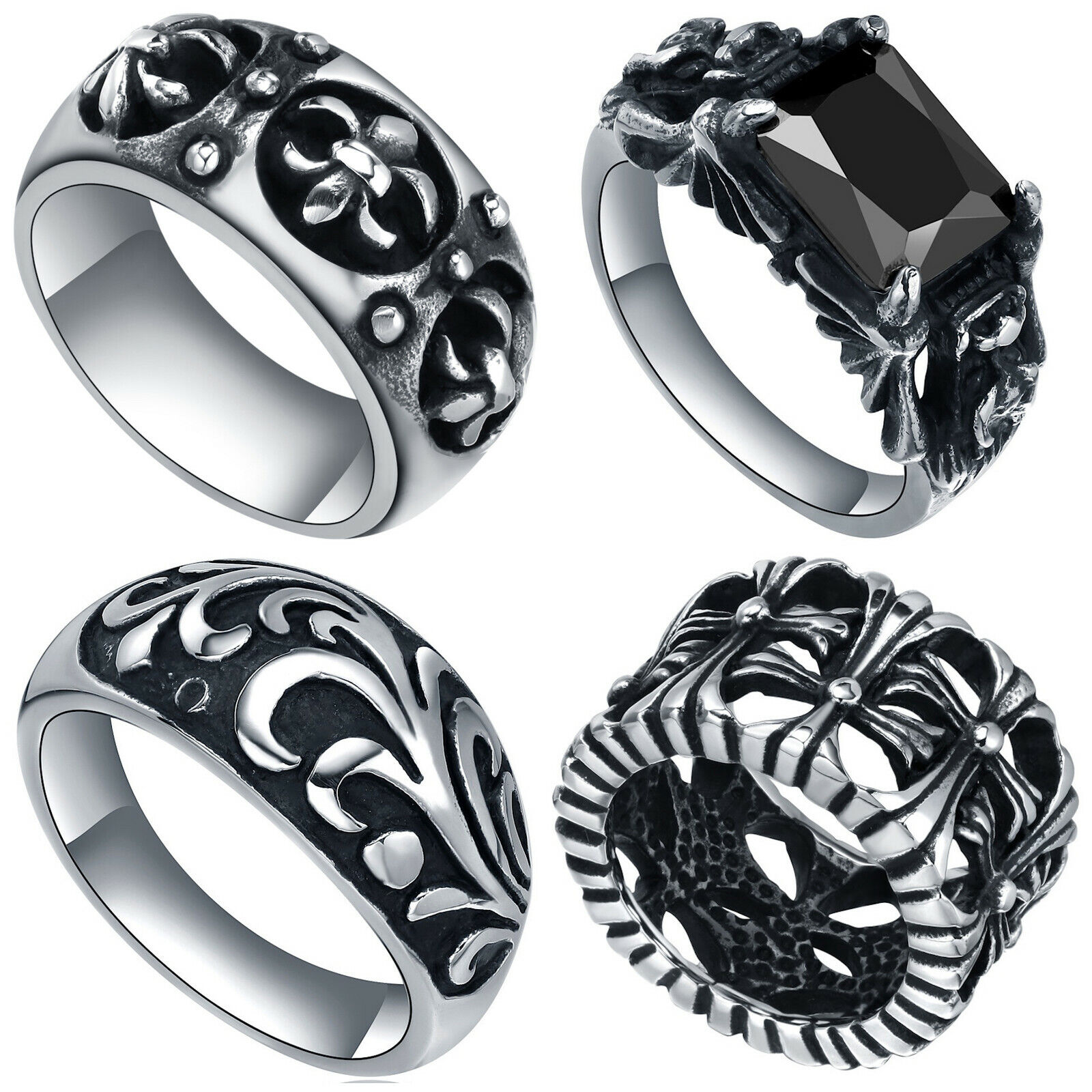 Mens Stainless Steel Vintage Cross, Fleur De Lis, Floral, or Crystal Ring Jewelry & Watches