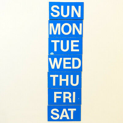 Magnetic Headings Days Of The Week White On Blue - Set Of 7 Magnets 1 X 2