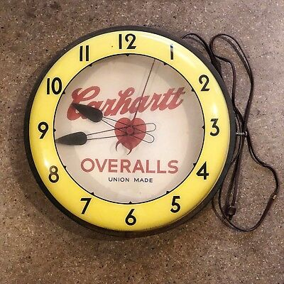 1940s 50's Carhartt Vintage Electric Wall Clock Neon Products Inc Lima Ohio