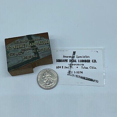 Vintage Square Deal Lumber Co Advertising Letterpress Block Print Stamp 2x1.5