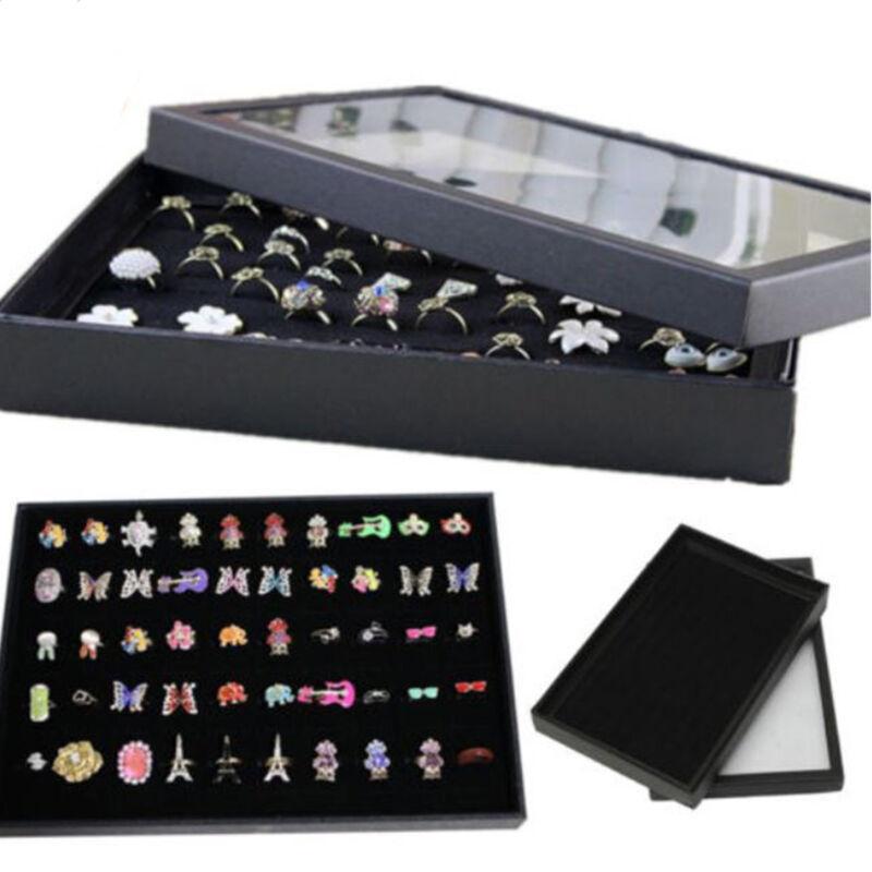 100 Rings Jewellery Display Storage Box Tray Show Case Organiser Earring Holder@