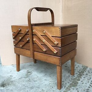 Big Accordion Style Mid Century Sewing Box