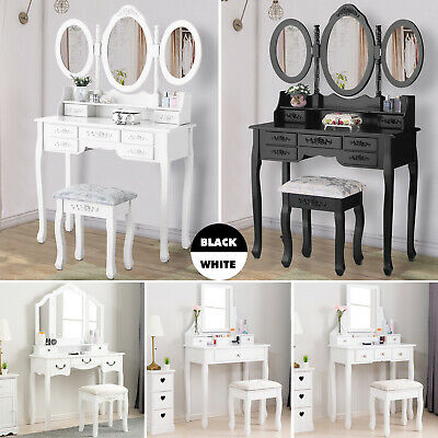 - Wood Vanity Makeup Desk Dressing Table Set w/ Stool Drawer&Mirror Black/White