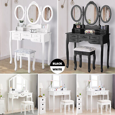 Wood Vanity Makeup Desk Dressing Table Set w/ Stool Drawer&Mirror Black/White](Mirror Table)