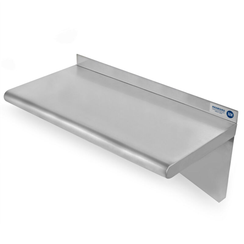 "Commercial Stainless Steel Restaurant Kitchen Shelf Wall Shelving - 12"" x 24"""