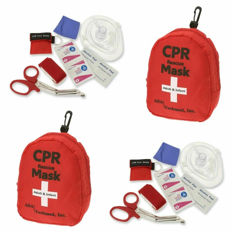 2 Pk Emergency Cpr Rescue First Aid Kit, Cpr Pocket Resuscitator One Way Valve