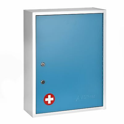 Adirmed Blue Steel Large Wall Mount Dual Lock Medical Security Medicine Cabinet