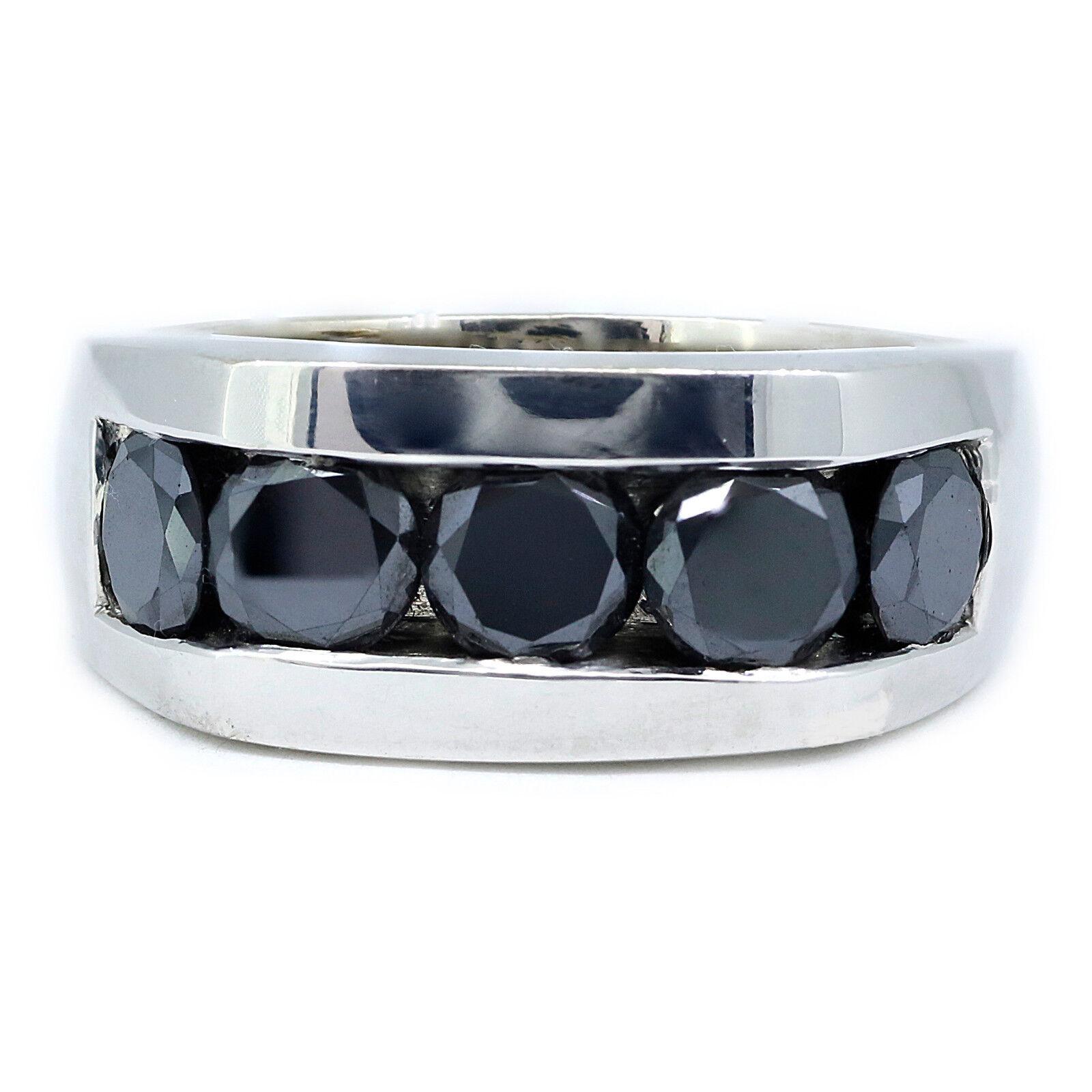 5.00 Carat Black Diamond Men's Ring 925 Sterling Silver