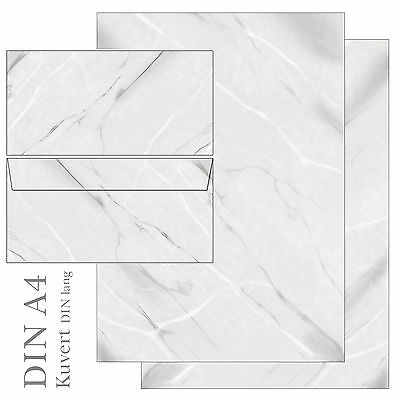 Marmor schwarz weiß grau Set Motivpapier Briefpapier 20 Blatt A4+20 Kuverts neu