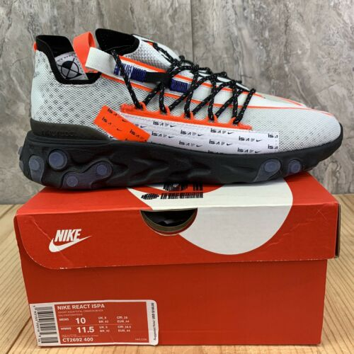 Nike React ISPA Size 10 Mens Ghost Aqua Total Crimson Black