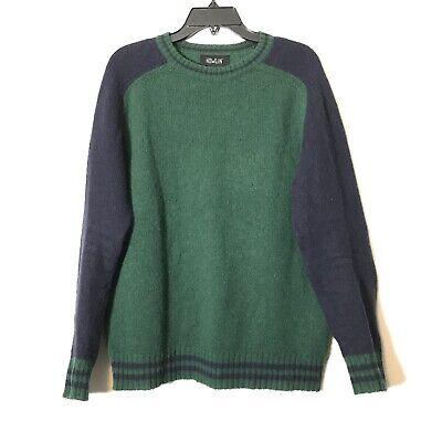 EUC Howlin Ireland Wool Green Navy Colorblock Crewneck Sweater Size Large