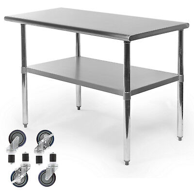 Commercial Stainless Steel Kitchen Food Prep Work Table W 4 Casters - 24 X 48