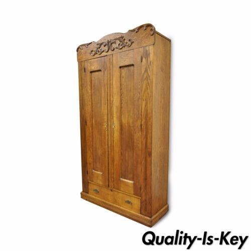 "82"" Antique American Victorian Golden Oak Wood Clothing Wardrobe Dresser Cabinet"