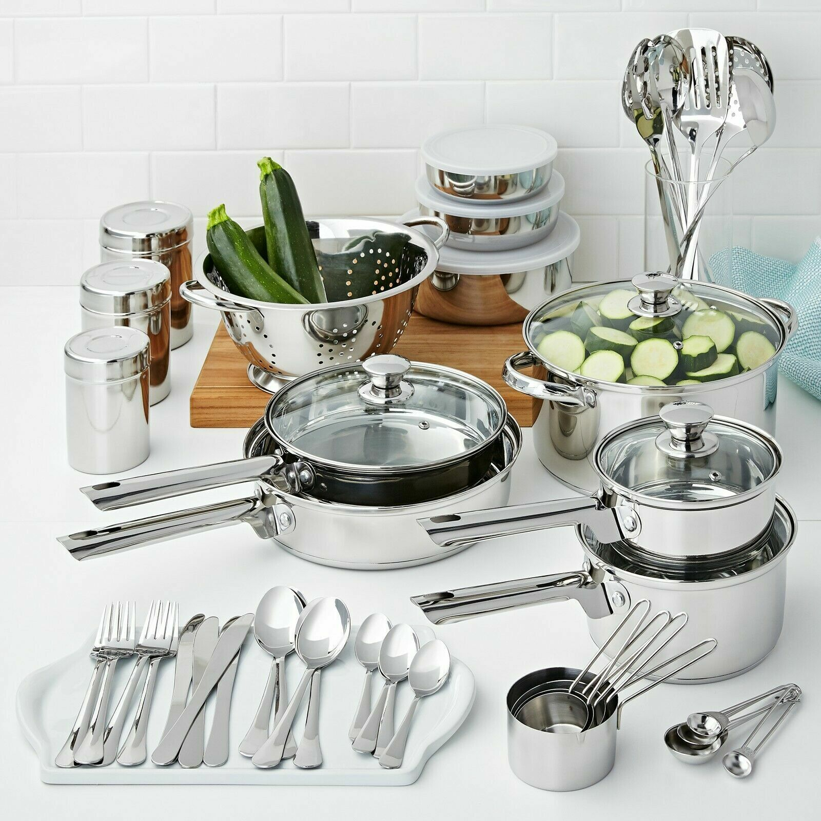 Non Stick Cookware Sets Stainless Steel 10 18 52 Piece Base Pieces Pots and Pans