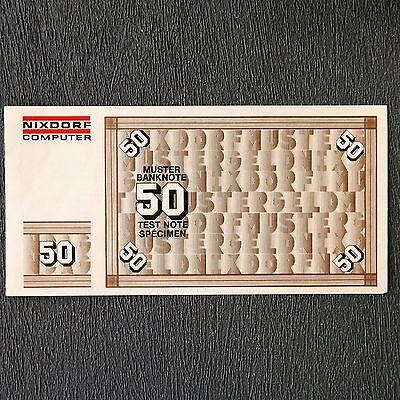 50 DM Muster Banknote Test Note Specimen money Nixdorf Computer 8864-Serie 1975