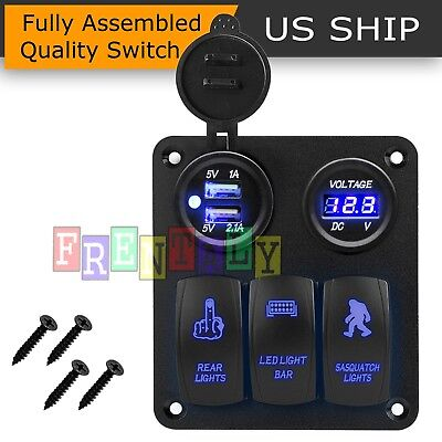 - LED Switch Panel 3 Gang Rocker Switch Toggle Blue LED Fog CAR Work Light Bar pod