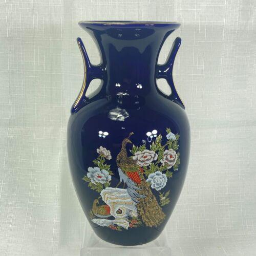 "Vintage Cobalt Blue Peacock Porcelain Vase Kutani Style Flowers Gold Japan 8.5"""