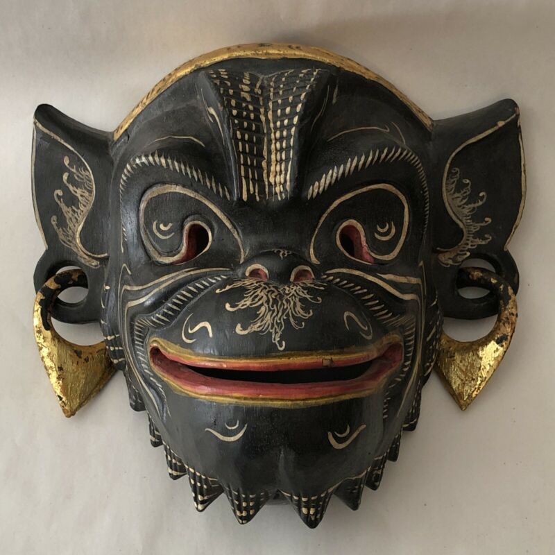 Vintage Balinese Hand Carved Painted Wooden Monkey Mask Folk Art Wall Decor