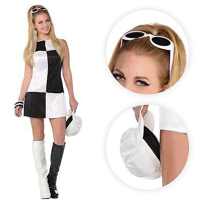 Ladies Swinging 60s 70s 80s Mod Girl Black White Retro Mono Fancy Dress Costume
