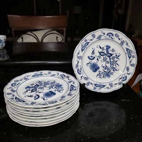 """VTG  BLUE DANUBE BLUE ONION SET OF 9 DINNER PLATES 10.25"""" JAPAN w/trademarks"""