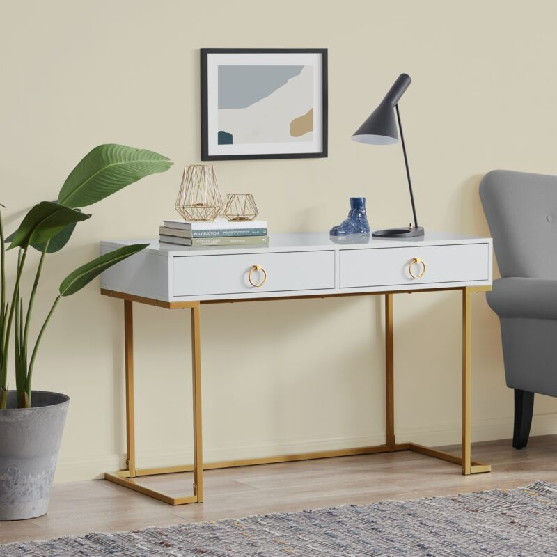 Office Two-Drawers Computer Desk Vanity Table, Wood And Metal, White and Gold
