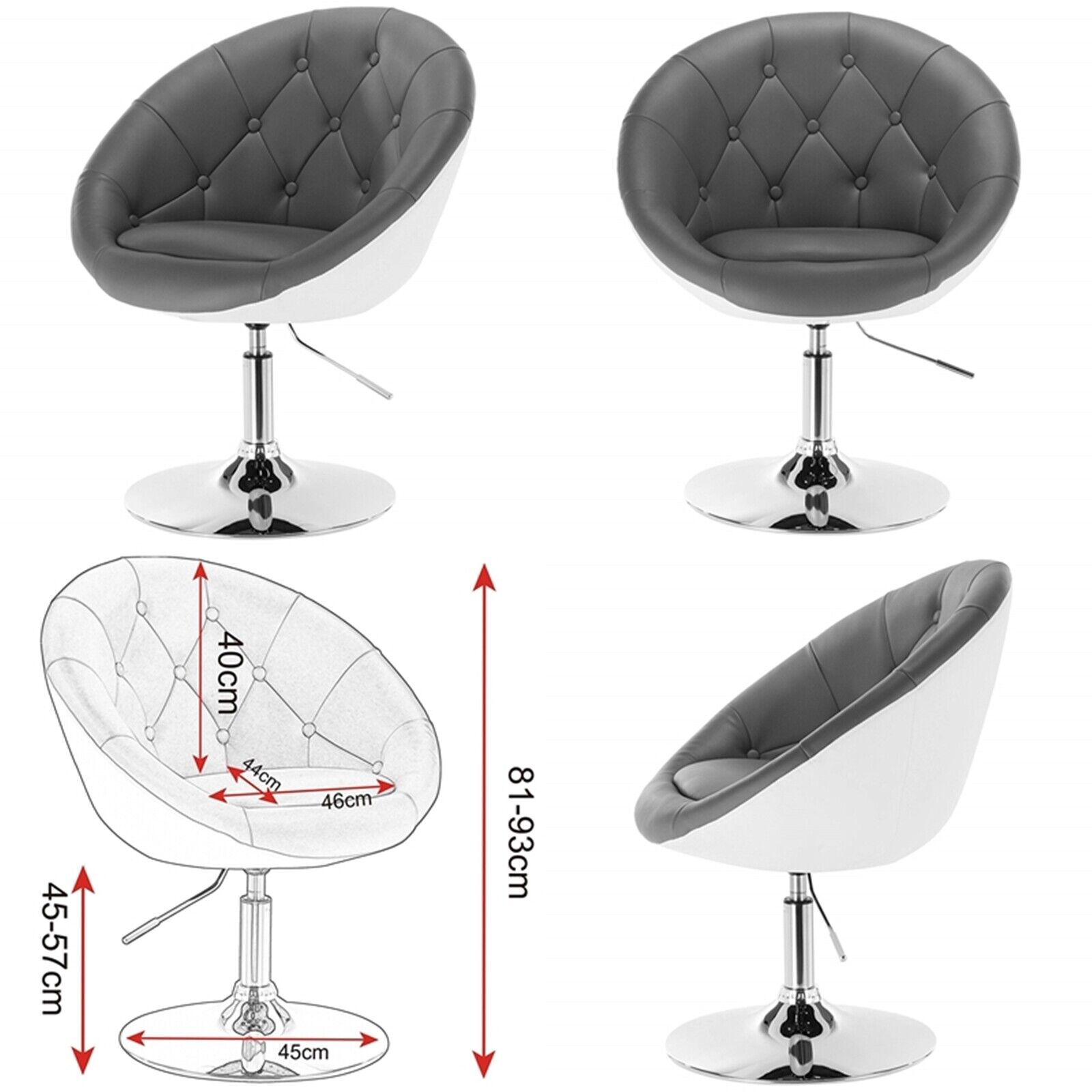 Tremendous Details About Swivel Retro Armchair Vintage Egg Seat Grey White Lounge Chair Dressing Stool Uk Ibusinesslaw Wood Chair Design Ideas Ibusinesslaworg