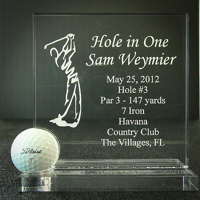 Hole in One Golf Trophy - Award - Plaque- Man or Woman - Crystal Clear - 2019