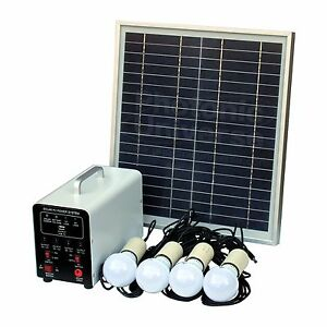 15W Off-Grid Solar Lighting System with 4 LED Lights, Solar Panel and Battery