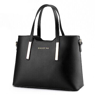 Schwarz Damentasche Leder Shopper Tasche Handtasche Schultertasche Frauentasche - Damen Frauen Leder Schwarz