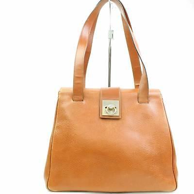 Authentic Celine Tote Bag  Medium Brown Leather 114775