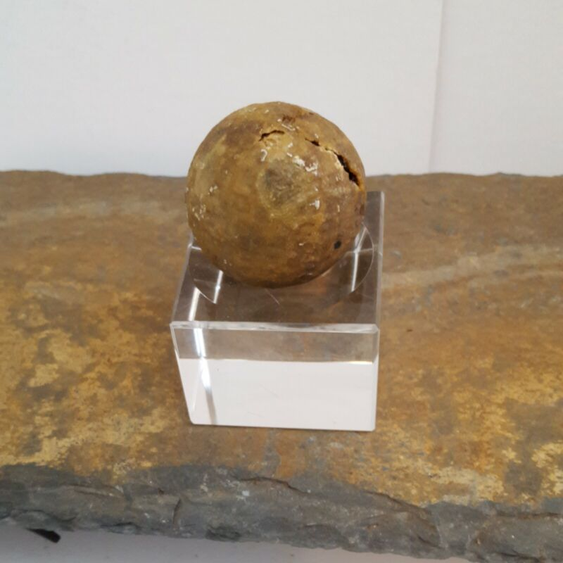 Antique Golf Ball with Square Dimples, Has Damage Very Old