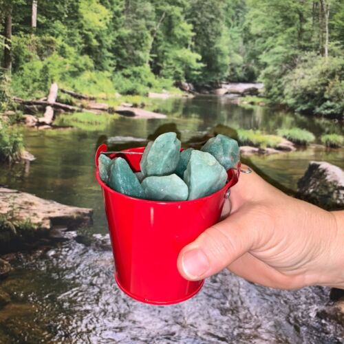 Bucket Full of Green Quartz Rough + FREE faceted gemstone - Pick Bucket Color